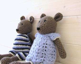 Crochet Bertie and Bronte Bear Written Pattern - Crochet Teddy Pattern