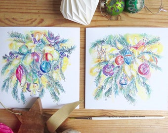 The Christmas Tree - illustrated hand-drawn Christmas card - set of six / 6 cards - two designs