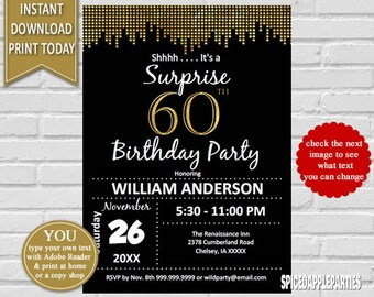 Surprise 60th Birthday Invitation | 60th Birthday Invite, Suprise 60th, 60th Birthday for men, Gold and Black Invite, Instant Download