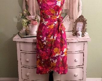 Vintage Hawaiian Dress, 1950s Tiki Dress, 50s Hawaiian Dress, XS-S, Vintage Hourglass Dress, Bombshell Sarong Dress, Pink Hawaiian Dress