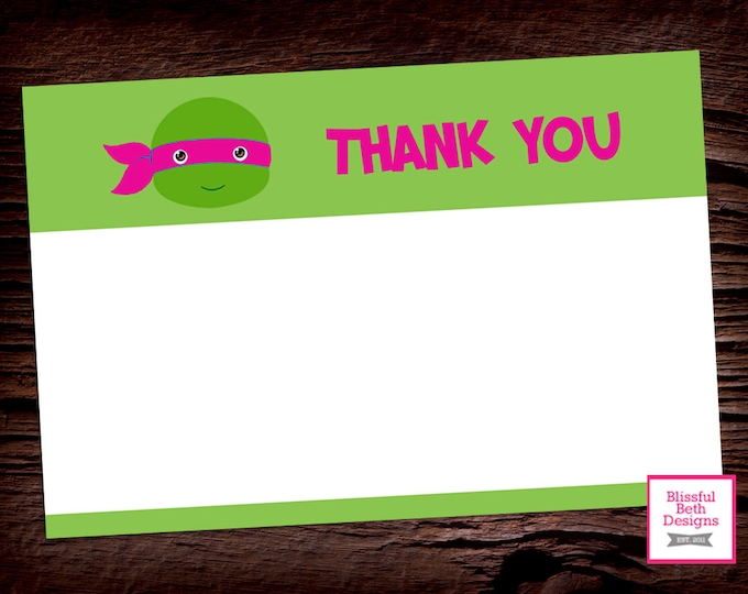 PINK NINJA THANKS, Ninja Turtle Printable Thank You Note, Pink Ninja Turtle Thank You Note, Thank You Note, Teenage Mutant Ninja Turtle Note