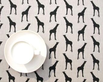 Tablecloth beige grey black giraffes Animal Modern Scandinavian Design , napkins runners , curtains available, great GIFT
