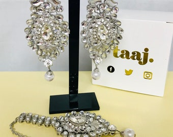 Silver & pearl diamanté kundan earrings and tikka set indian bridal prom party jewellery