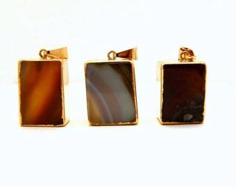 Tan/Brown Agate Block Square Rectangle Pendant with Electroplated 24k Gold Edge(S85B1-10)