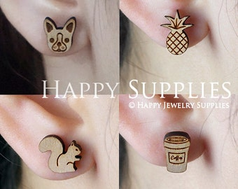 4pcs Mini (SMN33-36) DIY Laser Cut Wooden Earring Charms - SWC Series
