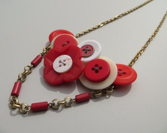 Door County Cherry Button Necklace