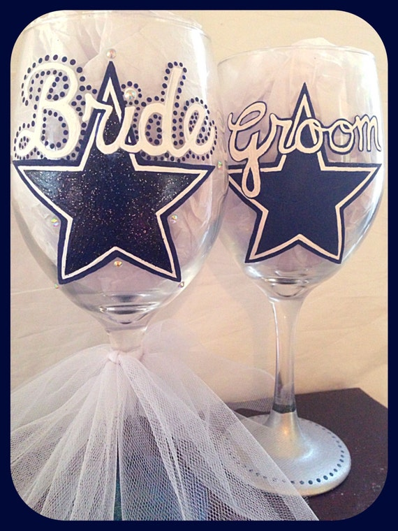 Dallas cowboys wedding glasses sports themed wedding toasting junglespirit Image collections