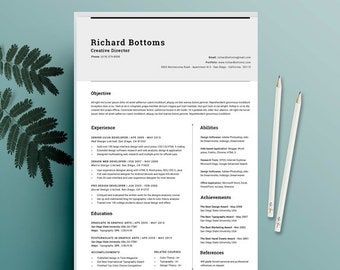 Creative Resume Design, CV Template + Cover Letter for MS Word, Modern & Professional Resume Template for Word, Resume Template, photoshop