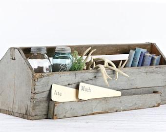 Chariot en bois Vintage fourre-tout en bois Vintage bois fourre-tout XL Caddy en bois fourre-tout Vintage outil boîte ferme Decor décor rustique ferme moderne Decor