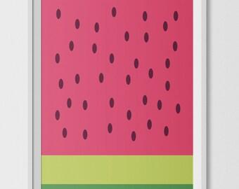 Watermelon fruit abstract art print, printable art, wall prints, digital, tropical art, printable wall decor, green prints, pink prints