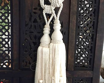 Vintage Decorative white tassel set of 2, drape tassel, bohemian decor