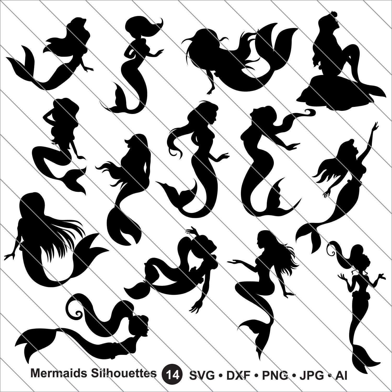 Mermaid Silhouettes SVG Clipartbundle Svg