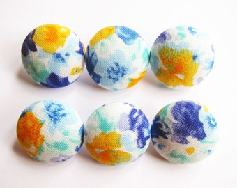 Fabric Covered Buttons - Watercolor Floral in Blue and Yellow - 6 Medium Buttons