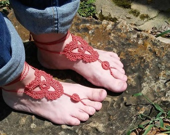 Trinity Barefoot Sandals, Triquetra, Celtic Petal, Dark Coral, Coral, Salmon, Boho, Hippie, Summer