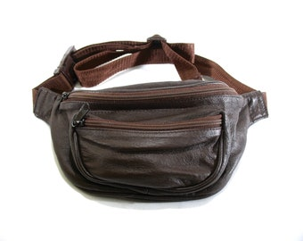 Vintage Leather Fanny Pack, Hip Bag, Brown, 1980's, Lined, Day Hikes, Travel, Hands Free Shopping, Summer, Extra Security, Unisex, Excellent