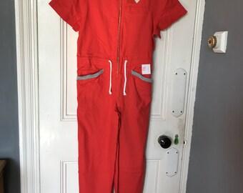 Vintage Italian 33 Olimpic ladies red cotton jumpsuit size S UK 10