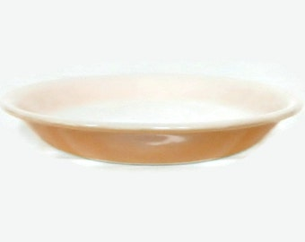 Vintage Fire King Peach Lusterware Round Pie Plate - 460, 9 inch - baking, collectible,bakeware,dish,cookware, bake,iridescent,backward logo