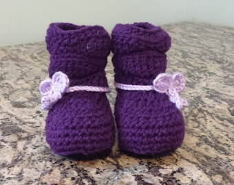Mia Slouch Style Baby Booties Purple and Lavender