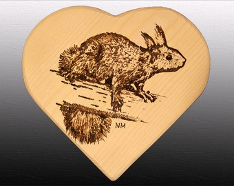 Squirrel engraved in a heart