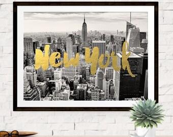 New York City Print, New York Art, New York Skyline, Travel Print Poster, New York City, Gold New York Typography Print, Manhattan Poster,