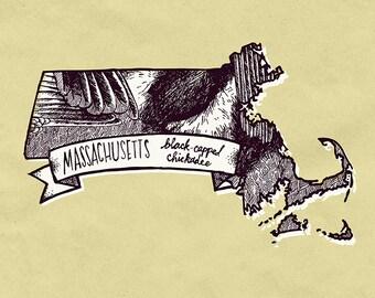 Massachusetts State Bird Print- Black-Capped Chickadee, 8x10 inches.