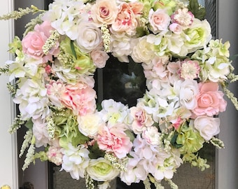 Wedding Wreaths Bridal Wreaths White Floral Wreaths Bridal Shower Wreath Elegant Flower Wreaths Spring Wreaths
