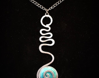 Necklace, Hand made, turquoise Stone,  Painted, Fun, Unique, and Trendy, Choker, Necklace for the beach and spring season