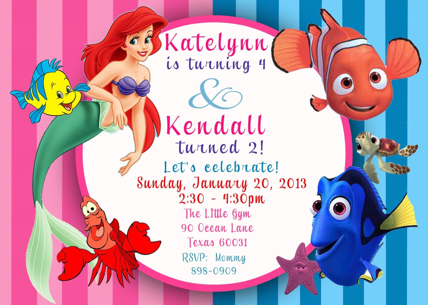 Custom photo invitation ariel the little mermaid finding zoom filmwisefo