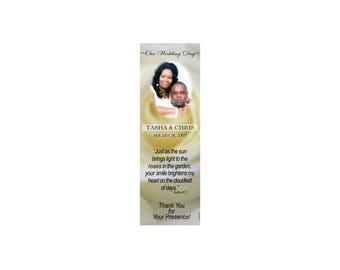 Yellow Rose Bloom Wedding Bookmark Favors - Thank You Bookmarks - Rose Bookmarks (50 minimum.)