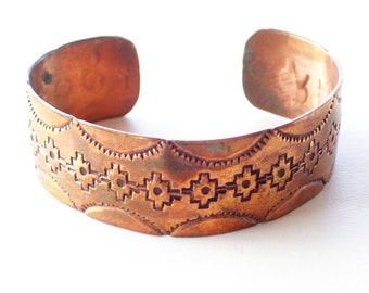 Vintage Copper Tribal Cuff Bracelet, Southwestern Copper Bracelet, Stamped Copper Cuff, Vintage Native Style Wide Copper Cuff Bracelet