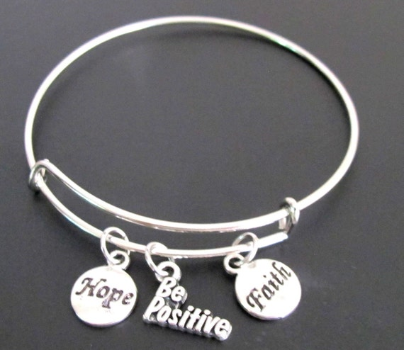 Be Positive Bangle Bracelet, Adjustable Expandable Bangle Bracelet, Be Positive Charm,Hope Faith Charm Bracelet Free Shipping in USA