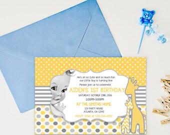 Babys first birthday invitation, Printable birthday invitation, party invitation kids, first birthday invites