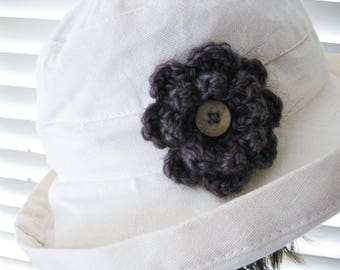 Crochet Flower Pin-Taupe Flower Pin-Taupe Flower Brooch-Crochet Flower-Crochet Flower with Button-Crocheted Pin-Crochet Brooch-Taupe Pin