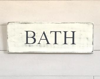 "Bathroom wall decor | Bath | bathroom sign | bathroom decor | wood signs | rustic wood signs | rustic wall decor | 20""x 7.25"""