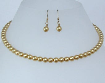 Gold Glass Pearl Earring and Necklace Set, 16 inch Gold Pearl Jewelry Set, Gift for Her