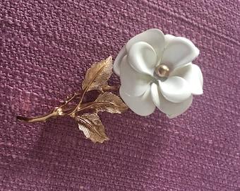 White Rose Brooch with Gold Stem and Leaf Vintage Enamel
