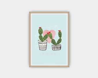 DIY, Handmade, Printable, Watercolour Cactus Print/Wall Art, Instant Download, Cacti Art, Succulent, Poster, Modern, Wall Art, Love