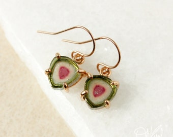 Small Watermelon Tourmaline Slice Earrings - Unique Tourmaline Earrings