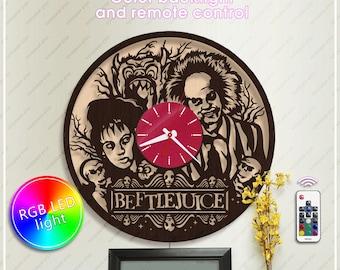 Beetlejuice Clock| Wooden Clock|Halloween Gift| Tim Burton Fan Art *w391 Handmade Clock with Backlight