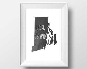 Rhode Island State Black Chalkboard Printable Art, Rhode Island State Print, Rhode Island Art, Modern Art,