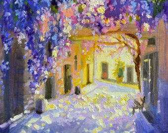 WISTERIA LANE, purple, dappled light, outdoor street scene, perfect gift for her