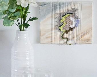 Plume | Woven painted canvas Tapestry Weaving Fiber Art Interior Design Modern Art Boho Design Lavender painting