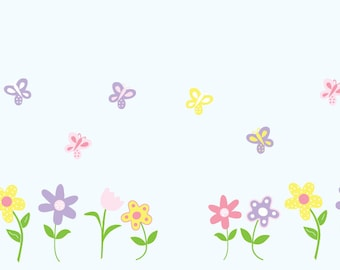 Nursery decals - Wall decal -  flower decal - Flowers -  Decal - Girl decals - Vinyl decals -  Children decals -  butterfly decals