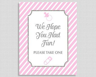 We Hope You Had Fun Sign, Pink Stripe Baby Shower Favor Sign, Pink and Gray, Baby Girl, INSTANT PRINTABLE