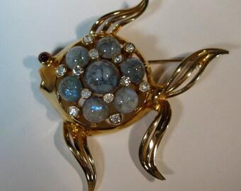 Vintage 1940s Mazer Bros Brooch - Fish Pin - Italian Glass Novelty Figural