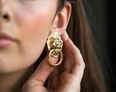 Vintage Lion Door Knocker Earrings with Rhinestone Eyes, Large Vintage Animal Earrings in Gold Doorknocker