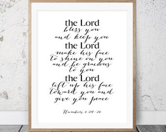 Printable Art, Numbers 6:24-26, Scripture art print, Bible verse, The Lord Bless You and Keep You, Christian Art, Scripture Art Print, 140