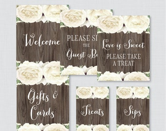 White Floral Bridal Shower Table Signs - Printable Rustic Wood Bridal Shower Decorations - Welcome Sign, Favors Sign, etc White Flowers 0017