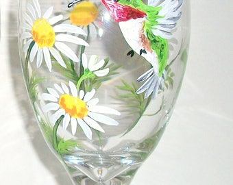 Hand Painted Tea Glass or Wine Glass Hummingbirds and Daisies 1- 16 oz. Gift  Mothers Day Christmas Gift  White Daisies Ice Tea Glasses