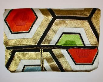 Gold Hexagons Two-way Fold Over Obi Silk Clutch Purse